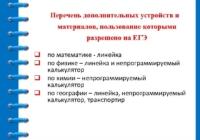 Перечень вспомогательных предметов, разрешенных к использованию на экзаменах участниками ГИА-9 и ЕГЭ-11 в 2020 году